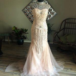 Vintage Sequin Rhinestone Mermaid Wedding Dress